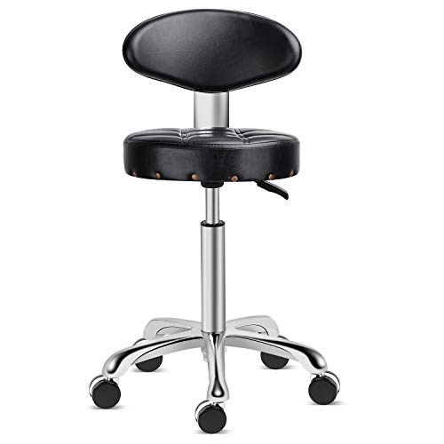 Karrie Rolling Stool Salon Chair with Smooth-rolling Dual-wheels Comfortable Cushioned Back Rest 360-degree Swivel Seat Heavy Duty Hydraulic Height Adjustable Durable (Black)