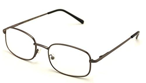Vision World Rectangular Lightweight Slim Metal Reading Glasses - Unisex Readers (Gunmetal, 1.75 x)
