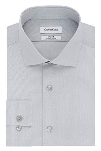 Calvin Klein Men's Dress Shirt Slim Fit Non Iron Stretch Solid, Pearl Grey, 15.5