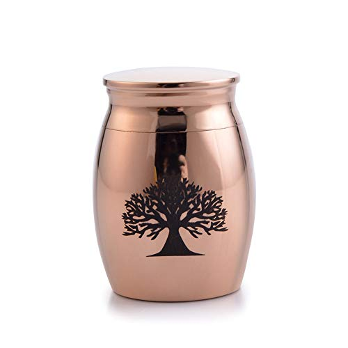 (Sunling Small Rose Gold Plated Waterproof Stainless Steel Decorative Memorial Keepsake Cremation Urns Jar for Human Pet Ashes Funeral Bottle Holder for Grandma,Grandpa,Always with Me)