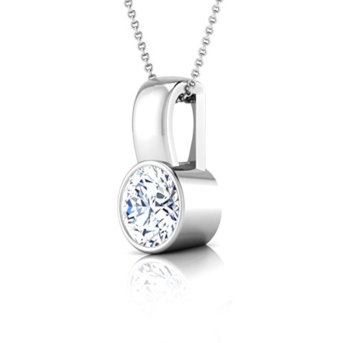 18 K Or Blanc 0,3 CT TW Round-cut-diamond (IJ | SI) Pendentif