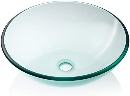 Miligore Modern Glass Vessel Sink – Above Counter Bathroom Vanity Basin Bowl – Round Clear