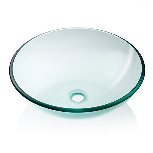 Miligore Modern Glass Vessel Sink - Above Counter Bathroom Vanity Basin Bowl - Round Clear ()
