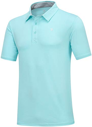 (MoFiz Men's Modern Fit Classic Golf Polo Shirt Active Working Out Running Sport T Shirt (2XL,Green) )