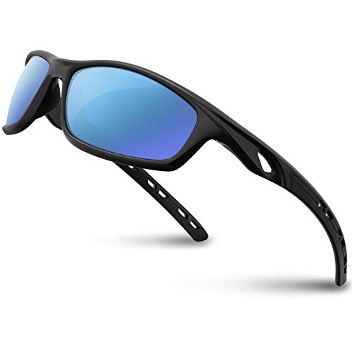 RIVBOS Polarized Sports Sunglasses Driving Sun Glasses Shades for Men Women Tr 90 Unbreakable Frame for Cycling Baseball Running Rb833 (833-Black Ice Blue ()