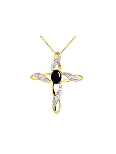 Diamond & Onyx Cross Pendant Necklace Set In Yellow Gold Plated Silver .925 with 18