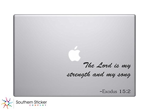 #2 the Lord Is My Strength and My Song Exodus 15:2 Text Bible Verse Vinyl Car Sticker Silhouette Keypad Track Pad Decal Laptop Skin Ipad Macbook Window Truck - Decals Verse Bible Laptop