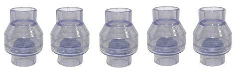 Valterra 200-C20W PVC Swing (No Spring) Check Valve, Clear Blue, 2'' Slip (5-(Pack))