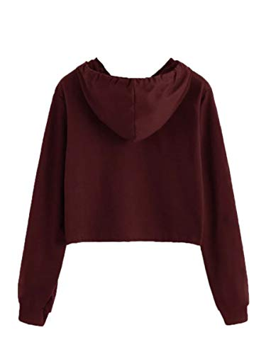 Milumia Women's Letter Print Hooded Drawstring Long Sleeve Pullover Sweatshirts Crop Top