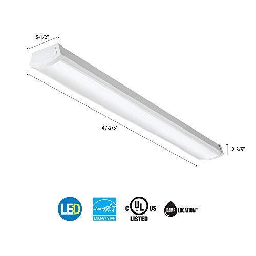 Lithonia Lighting FMLWL 48-Inch 840 Contractor Select 4-Foot Flushmount LED Wrap Ceiling Light for Garage| Home| Basement| 2600 Lumens, 120 Volts, 40 Watts, Damp Listed, Bright by Lithonia Lighting (Image #2)