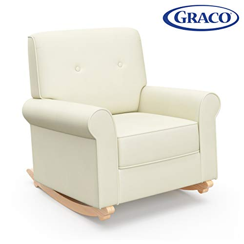 Graco Harper Tufted Rocker, Oatmeal Cleanable Upholstered Nursery Rocking Chair, Converts to Stationary Armchair