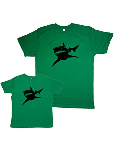 Fathers Day Matching Shark Father & Son Shirts XL&XS Heather Green