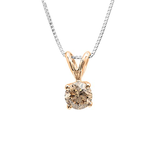 Dazzlingrock Collection 0.25 Carat (ctw) 14K Round Champagne Diamond Ladies Solitaire Pendant 1/4 CT, Rose Gold