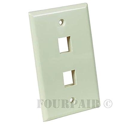Wall plate flush mount faceplate 1 port hole keystone jack white 25 pack lot