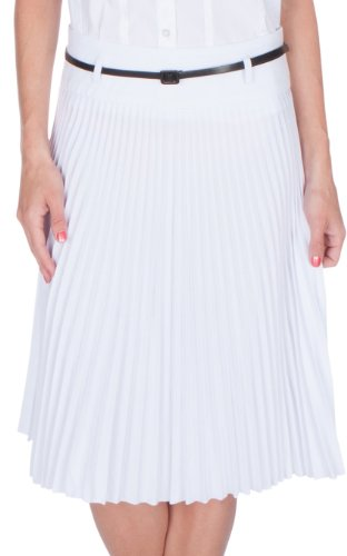 Sakkas FV3543 Knee Length Pleated A-Line Skirt with Skinny Belt - White / Small by Sakkas