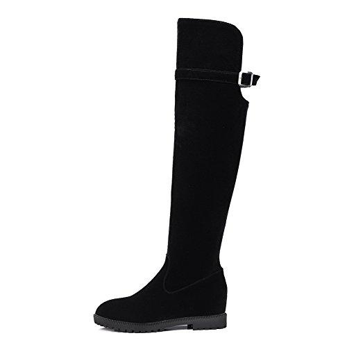 Solid Suede top Boots High Imitated Black Kitten Women's Allhqfashion Heels Zipper xnWyq4yYX