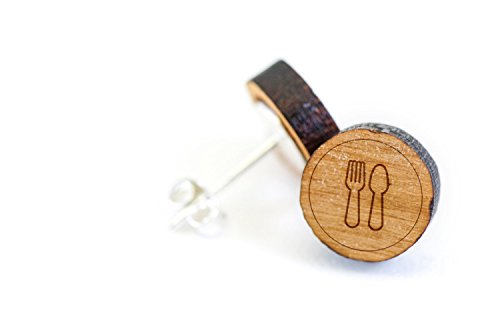 Price comparison product image Fork And Spoon Stud Wooden Earrings Made with Premium American Cherry Wood