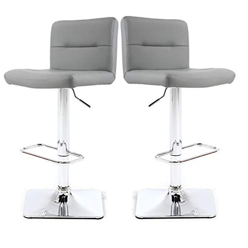 Modern Swivel Barstools with Chrome Base, Adjustable Counter Height Bar Stool, Light Grey PU Leather Padded with Back, Set of 2, Hold Up to 350lbs
