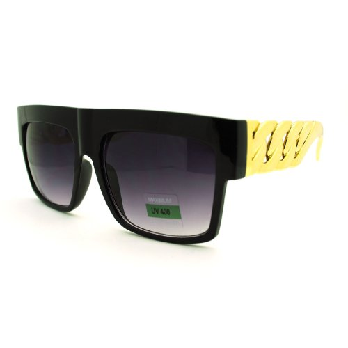 Designer Inspired Thick Gold Link Chain Flat Top Unisex Sunglasses Black