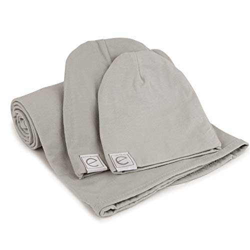 Cotton Knit Jersey Swaddle Blanket and 2 Beanie Baby Hats Gift Set, Large Receiving Blanket by Ely's & Co (Grey) - Jersey T-shirt Hat