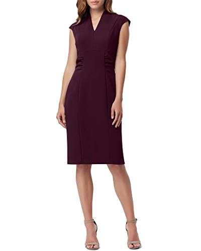 (Tahari by ASL Women's Cap Sleeve Stretch Crepe Sheath Dress with Side Ruching Aubergine 2)