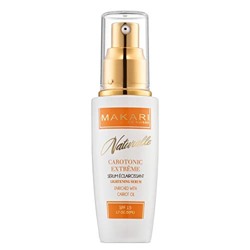 Makari Naturalle Carotonic Extreme Skin Lightening Serum 1.7oz - Toning & Brightening Face Serum with Carrot Oil & SPF 15 - Anti-Aging Whitening Treatment for Acne Scars, Dark Spots & Wrinkles