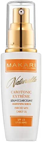 Makari Naturalle Carotonic Extreme Skin Lightening Serum 1.7oz – Toning & Brightening Face Serum with Carrot Oil & SPF 15 – Anti-Aging Whitening Treatment for Acne Scars, Dark Spots & Wrinkles