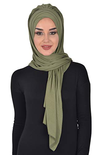 Jersey Shawl for Women Cotton Wrap Instant Modesty Turban Cap Scarf Green