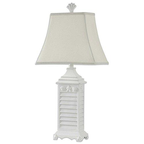 Shades Wholesale Shutter (Stylecraft Home Coastal Shutter Table Lamp w/ Decorative Starfish & Shell Motif (White))