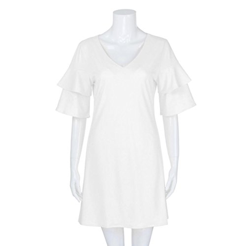 ANBOO 4 Dress 3 Double Summer Dress White Women's Casual Sleeve Layers 7P6r7q