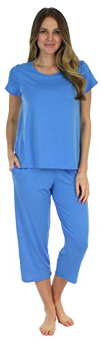 Set Ladies Pj (Sleepyheads Women's Sleepwear Jersey Lightweight Short Sleeve Tee and Capri Pajama Set (SH1831-4077-XL))