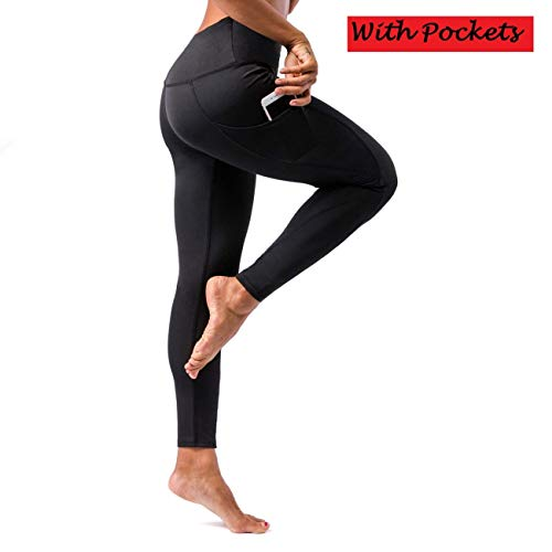 Yoga Obsession Women's Yoga Pants with High Waist Out Tummy Control Workout Running 4 Way Stretch Yoga Leggings with Pockets (Black, Medium)