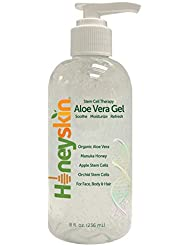 Organic Aloe Vera Leaf Gel - 100% Pure Aloe Leaf Gel for Face and Body After Sun Care - From Fresh Aloe Plants in USA - Hydrating Gel for Sunburn, Acne, Boost your Skins Defense - Non Sticky (8 oz)