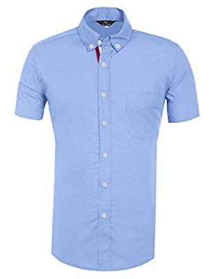 Short Sleeve Men's Slim Fit Shirts Casual Formal Fashion Solid CL5542D