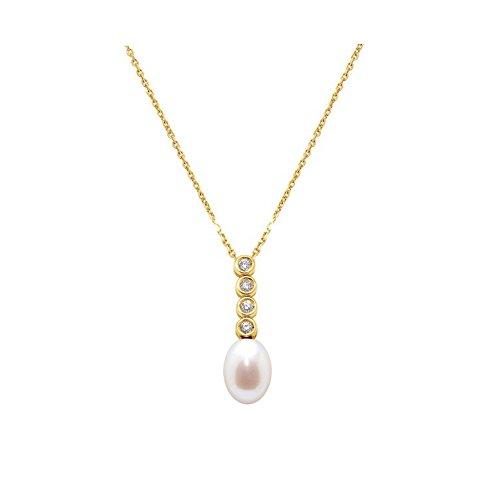 Pendentif Perle de Culture d'eau douce Blanche, Diamants et Or Jaune 750/1000 -Blue Pearls-BPS K016 W