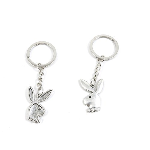 (2 Pieces Keyring Keychain Keytag Key Ring Chain Tag Door Car Wholesale Jewelry Making Charms B8VP3 Playboy Rabbit)