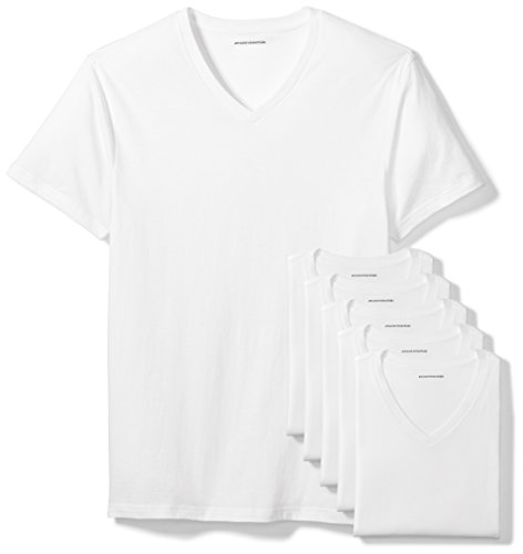 Amazon Essentials Men's 6-Pack V-Neck Undershirts, White, Medium