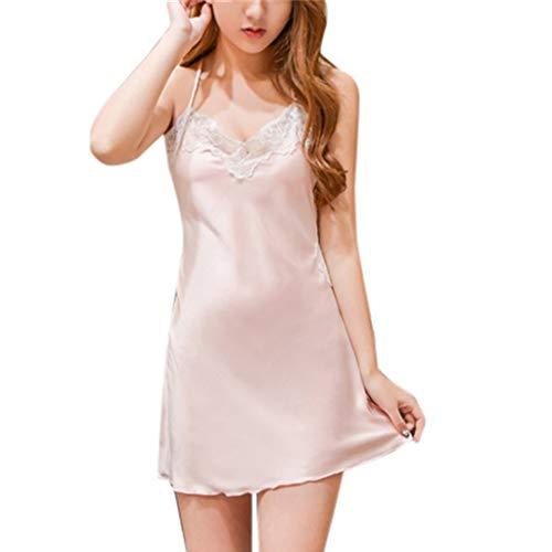 Kiminana Womens Sexy Satin Sling Backless Sleepwear Lingerie Lace Nightdress Underwear