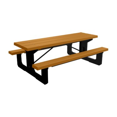 Kirby Built Products 8' BarcoBoard Plastic Walk-Thru Picnic Table - Cedar