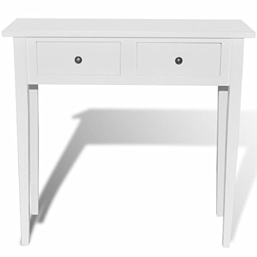 - Vislone Mirrored Makeup Vanity Table White Dressing Console Desk with 2 Large Storage Drawers for Bedroom