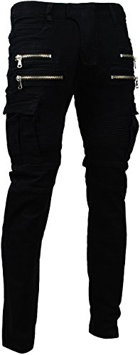 Angel Cola Men's Biker Slim Distressed Washed Cotton Cargo Jeans Black - For Balmain Men
