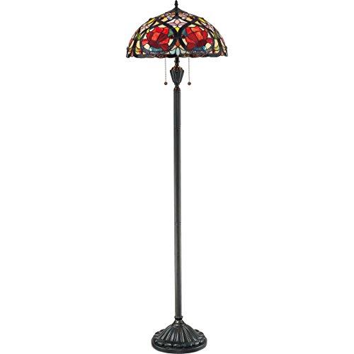 Quoizel TF879F Larissa Flower Tiffany Floor Lamp, 2-Light, 200 Watts, Vintage Bronze (62