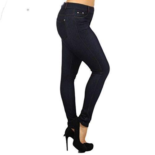 FASHIONCHIC Femmes uni lastique coupe slim skinny Curvy habill color fermeture clair pantalon jeggings grande taille 8-26 18 couleurs disponible denim-navy