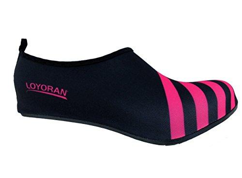 BambooMN Ultraleichte dynamische flexible aktive Wassersport-Aqua-laufende Strand-Schuhe Schwarz mit rosa Streifen