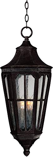 Maxim 40157CDSE Beacon Hill VX 3-Light Outdoor Hanging Lantern, Sienna Finish, Seedy Glass, CA Incandescent Incandescent Bulb , 60W Max., Damp Safety Rating, Standard Dimmable, Frosted Glass Shade Material, Rated Lumens