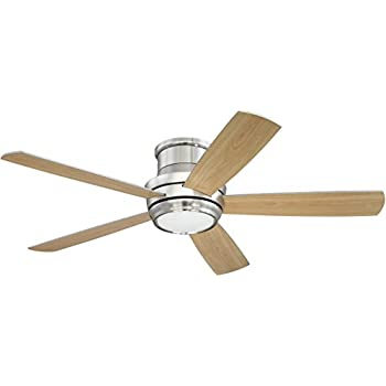 Flush Mount Ceiling Fan with LED Light and Remote by