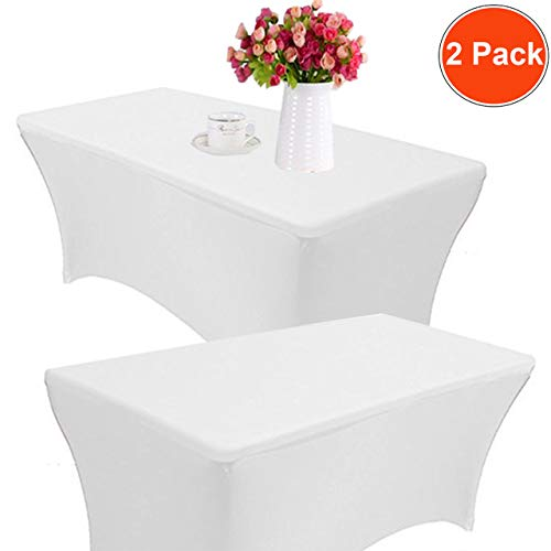 Reliancer 2 Pack 4\6\8FT Rectangular Spandex Table Cover Four-Way Tight Fitted Stretch Tablecloth Table Cloth for Outdoor Party DJ Tradeshows Banquet Vendors Weddings Celebrations (8FT, White) (Cover 8' Table White)