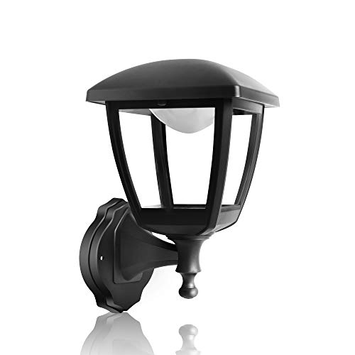 FUDESY Transitional LED Outdoor Wall Lantern with 10W 28 Lifetime LED Chips, Black Polypropylene Plastic Porch Lamp with Clear Acrylic Lenses, Waterproof Porch Light Fixtures,P406-LED ()