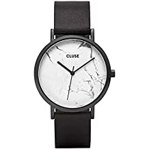 CLUSE La Roche Full Black White Marble CL40002 Women's Watch 38mm Leather Strap Minimalistic Design Casual Dress Japanese Quartz Elegant Timepiece