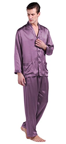 LilySilk Purple Silk Pajamas for Men Luxury Natural 22 Momme Pure Mulberry Silk Violet XL